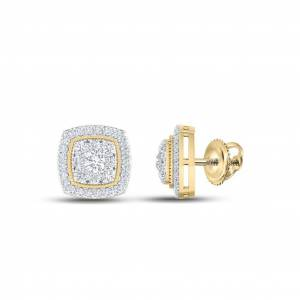 HipHopBling Pave Cushion Diamond Earrings .50cttw 14K Yellow Gold