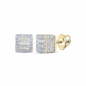 HipHopBling Square Bars Double 3D Diamond Earrings .33cttw 10K Yellow Gold