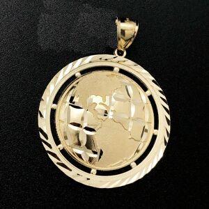 Large World Globe DC Pendant 10K Yellow Gold Pendant