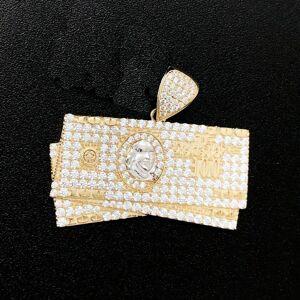 HipHopBling $100 Bill Stacks CZ 10K Yellow Gold Pendant