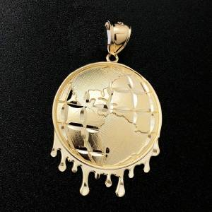 HipHopBling World Globe Drip DC 10K Yellow Gold Pendant