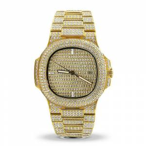 HipHopBling Modern CZ Stainless Steel Watch in Gold