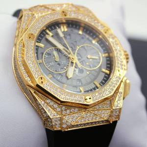 HipHopBling Chrono Octagon CZ Rubber Bling Bling Watch