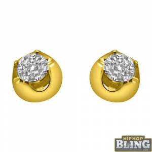 HipHopBling .24cttw Solitaire Illusion 14K Yellow Gold Earrings