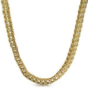 HipHopBling .925 Silver Franco CZ 8MM Bling Bling Chain Gold