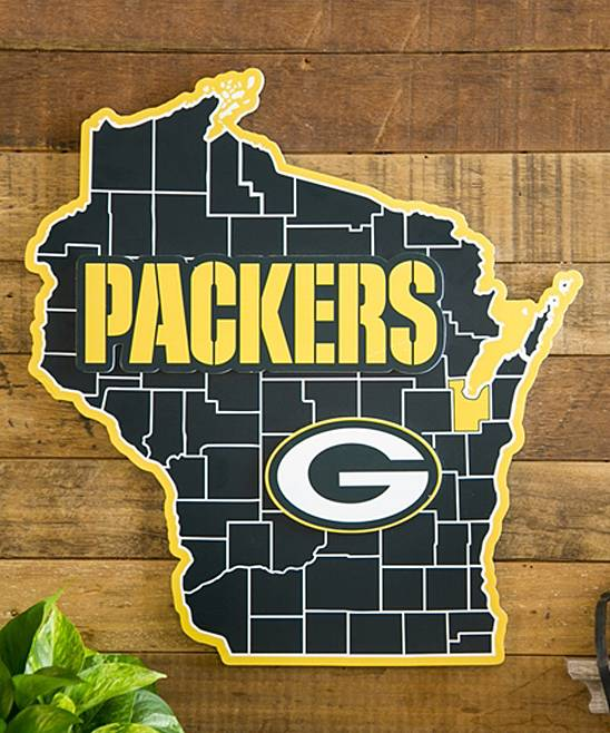 Sports Outdoor Wall Decor - Green Bay Packers Yellow State Wood Wall Decor