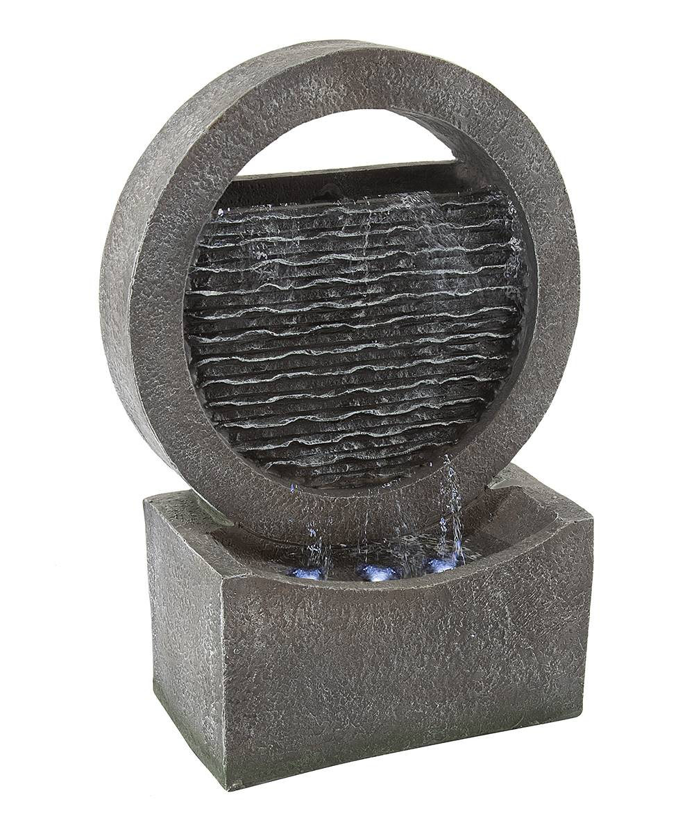 Garden Outdoor Fountains - Taupe Stone Distressed Round Wall Cascade Light-Up Fountain