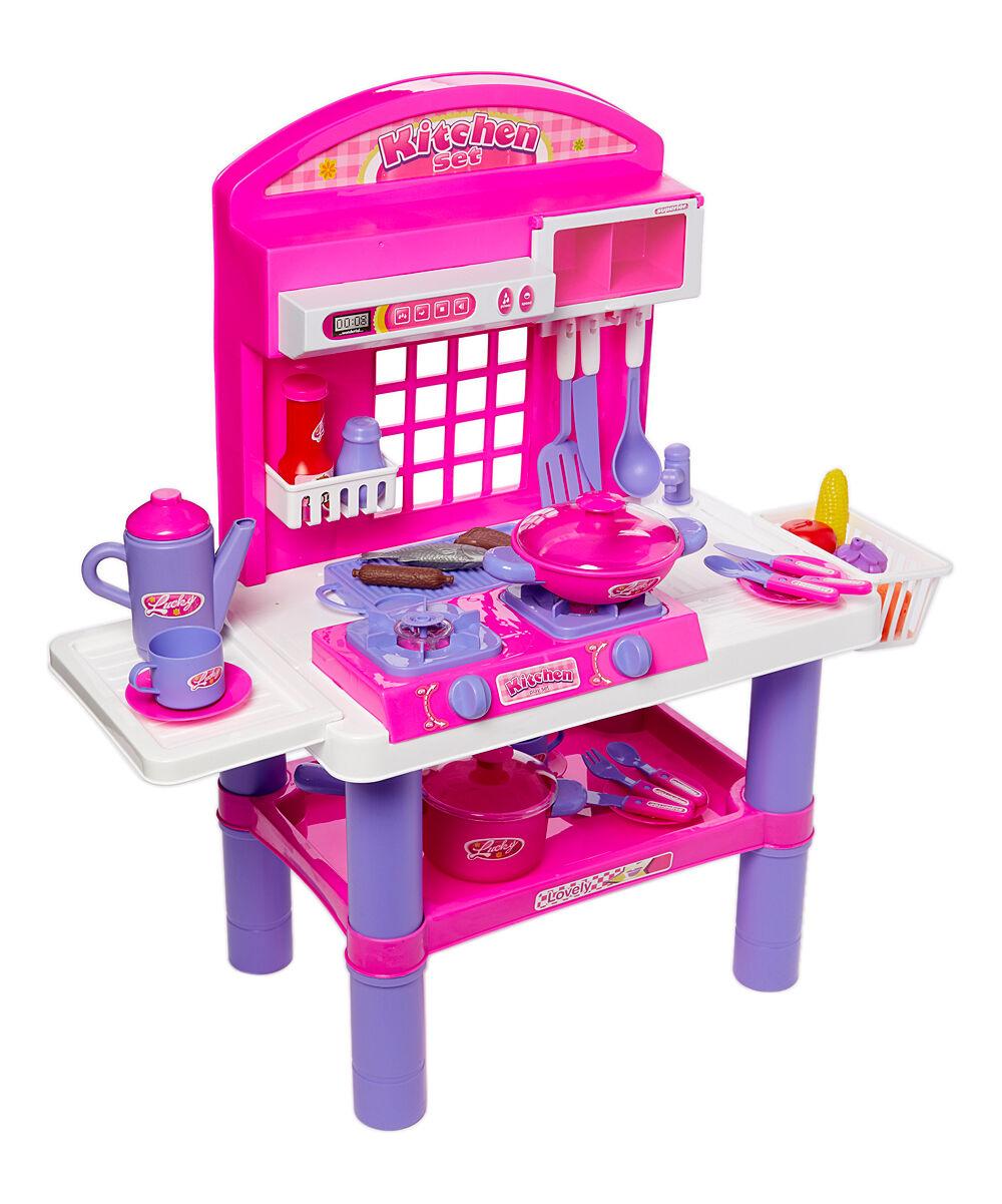 Dash Toyz Girls' Play Kitchens - Pink Super Gourmet Light-Up Kitchen Appliance Play Set