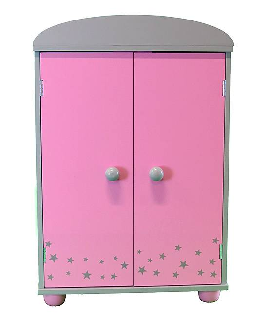 American Fashion World Doll Accessories Pink - Pink & Gray Armoire for 18' Doll