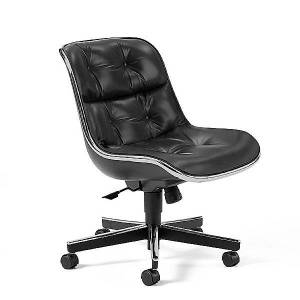 Knoll Charles Pollock Executive Armless Conference Chair with Aluminum Frame by Knoll - Finish: Aluminum - (12C-2-H-ES 8075)