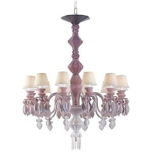 Lladro Belle de Nuit Single Tier Chandelier by Lladro - Color: Pink - Finish: Glossy - (01023269)