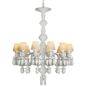 Lladro Belle de Nuit Single Tier Chandelier by Lladro - Color: White - Finish: Glossy - (01023189)