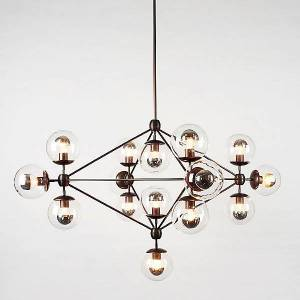 Roll & Hill Modo 4 Sided Chandelier - 15 Globes by Roll & Hill - Color: Cream - Finish: Brass - (MODC4-BRA-CR-120)