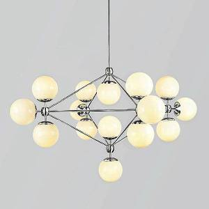 Roll & Hill Modo 4 Sided Chandelier - 15 Globes by Roll & Hill - Color: Cream - Finish: Polished Nickel - (MODC4-PNKL-CR-120)