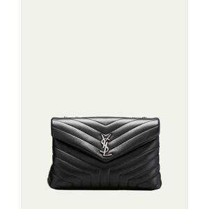 Loulou Medium YSL Matelasse Calfskin Flap-Top Shoulder Bag  - BLACK - BLACK