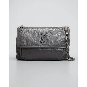 Niki Medium Crinkled Calf Flap-Top Shoulder Bag  - GRAY/RED - GRAY/RED
