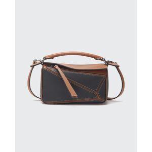 Puzzle Bicolor Mini Satchel Bag  - BLACK/BROWN - BLACK/BROWN