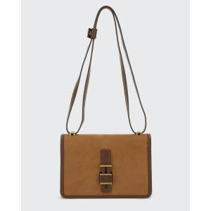 Lock-In Petite Velvet Nubuck & Napa Leather Shoulder Bag  - CAMEL - CAMEL