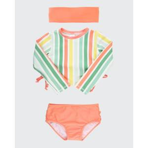 RuffleButts Girl's Stripe Print Cropped Bikini w/ Headband, Size 3M-10  - ORANGE - ORANGE - Size: 3