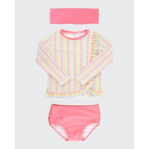 RuffleButts Girl's Long-Sleeve Ruffle 2-Piece Rash Guard Bikini w/ Headband, Size 3M-10  - PINK - PINK - Size: 10