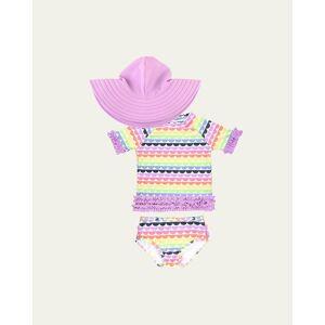 RuffleButts Girl's Ruffle 2-Piece Rash Guard Bikini w/ Sun Hat, Size 3M-10  - PURPLE - PURPLE - Size: 3-6 MONTHS