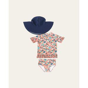 RuffleButts Girl's Ruffle 2-Piece Rash Guard Bikini w/ Sun Hat, Size 3M-10  - ORANGE - ORANGE - Size: 4