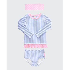 RuffleButts Girl's Seersucker Stripe Rash Guard Bikini w/ Headband, Size 3M-10  - BLUE - BLUE - Size: 7