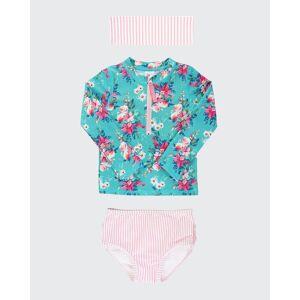 RuffleButts Girl's Floral Seersucker Half-Zip Rash Guard Bikini w/ Headband, Size 3M-10  - BLUE - BLUE - Size: 8