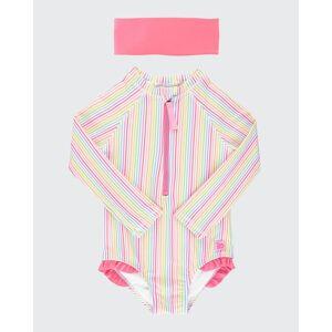 RuffleButts Girl's Rainbow Stripe Long-Sleeve One-Piece Rash Guard w/ Headband, Size 2-10  - PINK - PINK - Size: 8