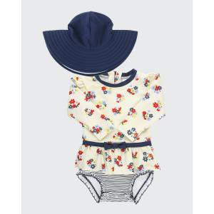 RuffleButts Girl's Petal Parade Floral Print Rash Guard w/ Swim Hat, Size 0M-3  - BLUE - BLUE - Size: 2