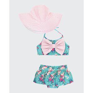 RuffleButts Girl's Fancy Me 2-Piece Floral Bikini w/ Sun Hat, Size 3M-10  - GREEN - GREEN - Size: 18-24 Months