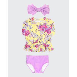 RuffleButts Girl's Daisy Delight Rash Guard Bikini w/ Headband, Size 3M-10  - PURPLE - PURPLE - Size: 10
