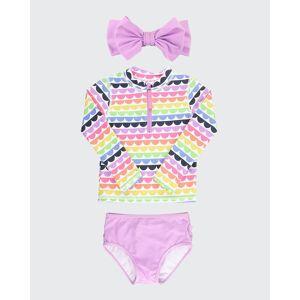 RuffleButts Girl's Scallop Rainbow Print Bikini w/ Headband, Size 3M-10  - ASSORTED - ASSORTED - Size: 10