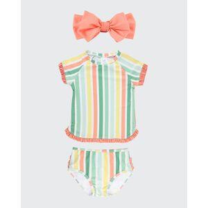 RuffleButts Girl's Saltwater Striped Rash Guard Bikini w/ Headband, Size 3M-10  - ORANGE - ORANGE - Size: 8