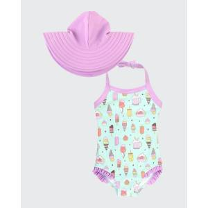 RuffleButts Girl's Anything is Popsicle Printed Halter-Neck Swimsuit w/ Swim Hat, Size 3M-10  - PURPLE - PURPLE - Size: 6-12 Months
