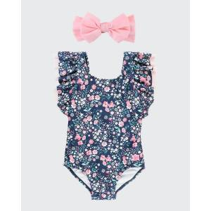 RuffleButts Girl's Moonlit Meadow Ruffle One-Piece Swimsuit w/ Bow Headband, Size 3M-10  - BLUE - BLUE - Size: 12-18 MONTHS