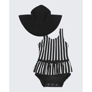 RuffleButts Girl's Striped 2-Piece Tankini w/ Sun Hat, Size Newborn-3  - BLACK - BLACK - Size: 2