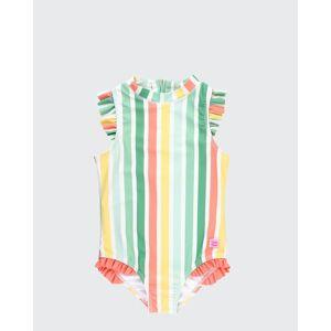 RuffleButts Girl's Multicolor Striped Ruffle One-Piece Swimsuit w/ Headband, Size 2-10  - ORANGE - ORANGE - Size: 5