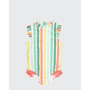RuffleButts Girl's Multicolor Striped Ruffle One-Piece Swimsuit w/ Headband, Size 2-10  - ORANGE - ORANGE - Size: 6