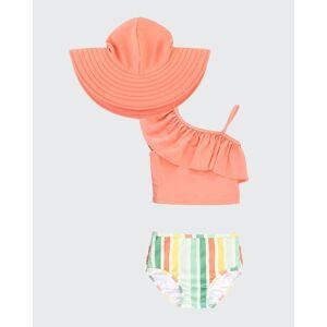 RuffleButts Girl's Multicolor Striped Ruffle 2-Piece Tankini w/ Sun Hat, Size 3M-10  - ORANGE - ORANGE - Size: 4