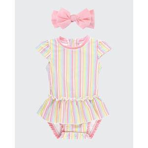 RuffleButts Girl's Rainbow Striped Ruffle One-Piece Swimsuit w/ Bow Headband, Size Newborn-3  - PINK - PINK - Size: 0-3 Months