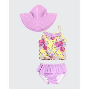 RuffleButts Girl's Daisy Delight Ruffle 2-Piece Bikini w/ Sun Hat, Size 3M-10  - PURPLE - PURPLE - Size: 2