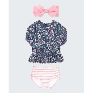RuffleButts Girl's Moonlit Meadow 2-Piece Rash Guard Bikini w/ Bow Headband, Size 3M-10  - PINK - PINK - Size: 18-24 Months