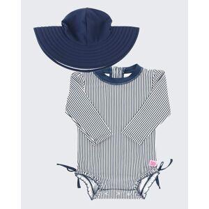 RuffleButts Girl's Print Rash Guard w/ Swim Hat, Size 0M-3  - BLUE STRIPE - BLUE STRIPE - Size: 3