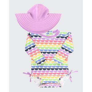 RuffleButts Girl's Print Rash Guard w/ Swim Hat, Size 0M-3  - PURPLE RAINBOW - PURPLE RAINBOW - Size: 3-6 MONTHS