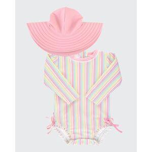 RuffleButts Girl's Print Rash Guard w/ Swim Hat, Size 0M-3  - PINK - PINK - Size: 2