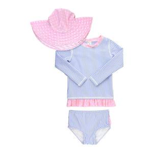 RuffleButts Girl's Seersucker Stripe Rash Guard Bikini w/ Sun Hat, Size 3M-10  - BLUE - BLUE - Size: 18-24 Months
