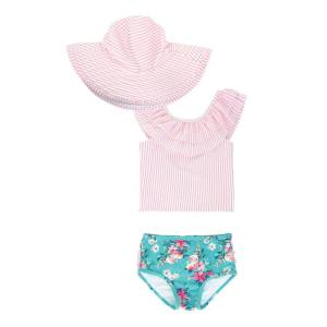 RuffleButts Girl's Seersucker Floral Tankini w/ Sun Hat, Size 3M-10  - PINK - PINK - Size: 12-18 Months