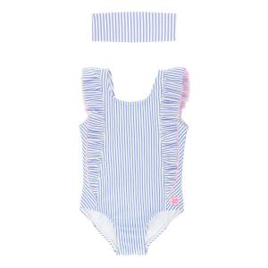 RuffleButts Girl's Seersucker Striped Ruffle One-Piece Swimsuit w/ Headband, Size 3M-10  - BLUE - BLUE - Size: 12-18 MONTHS