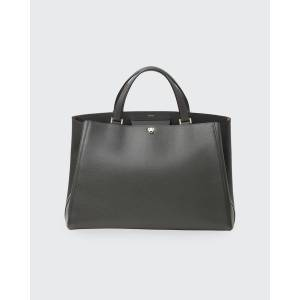 Valextra Brera Large Leather Top-Handle Tote Bag  - DARK GRAY - DARK GRAY